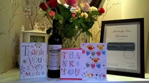 Lovely 'Thank you' cards from our guests