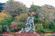 Pagoda and waterfall in Peasholm Park