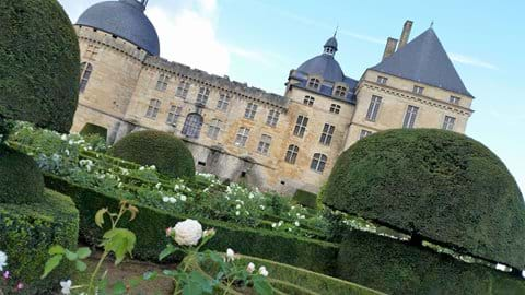 White stone castle called Hautefort with topiary in front and white roses