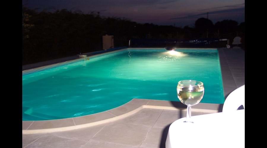 Swimming Pool illuminated at night