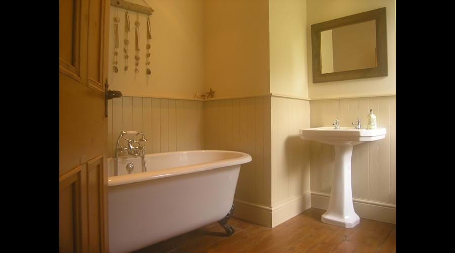 House bathroom with roll top bath big enough for two