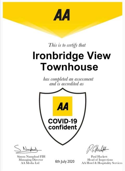 AA Covid-19 Accreditation for Ironbridge View Townhouse