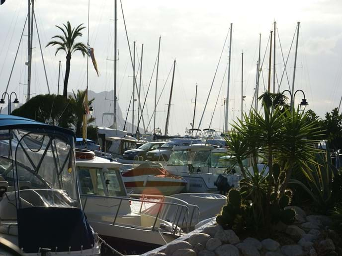 The boats at Moraira marina, where boat hire and watersports are available