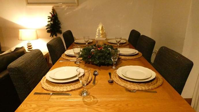 Large table can seat up to 12 people - perfect for Christmas Dinner