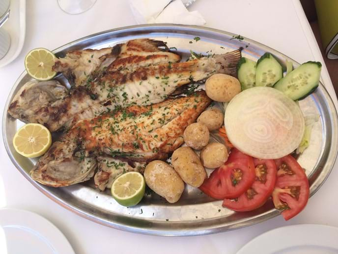 Fresh local fish at the seafront restaurants in  El Golfo