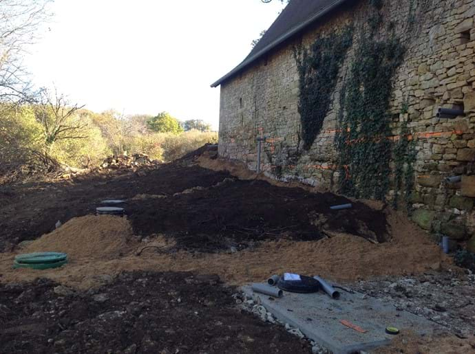 Back area of Gites and installation of septic tanks