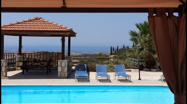 The lovely pool enjoys spectacular sea views