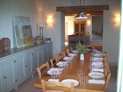 The dining room looking in to the kitchen