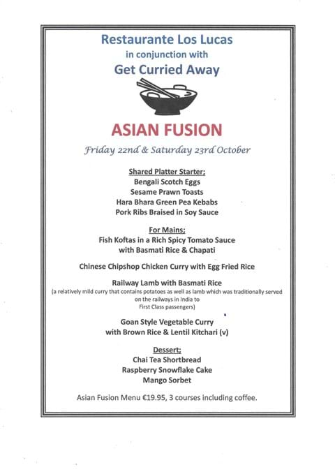 """Our Asian Fusion Themed Evenings along with our good friends from """"Get Curried Away"""", Friday 22nd October 2021 and Saturday 23rd October 2021 - FULLY BOOKED."""