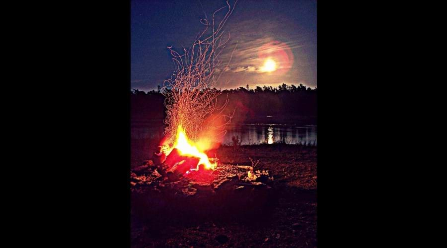 A fire in the shoreline fire-pit on the night of Supermoon in May 2012.