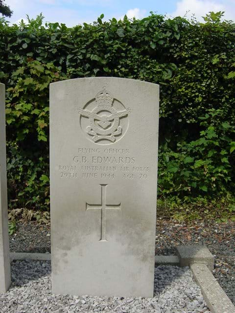 One of the war graves in the Boffles cemetery