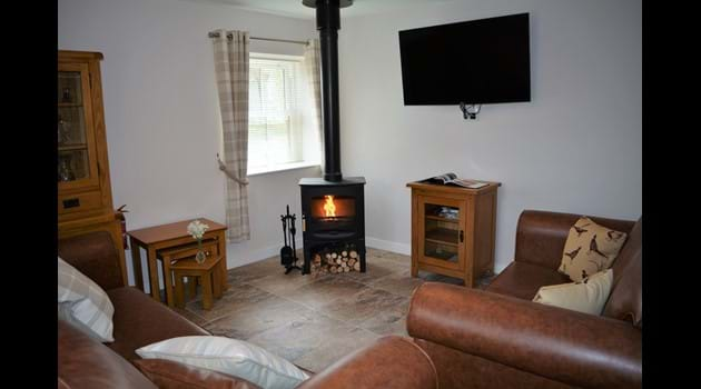 Comfy lounge with log burning stove