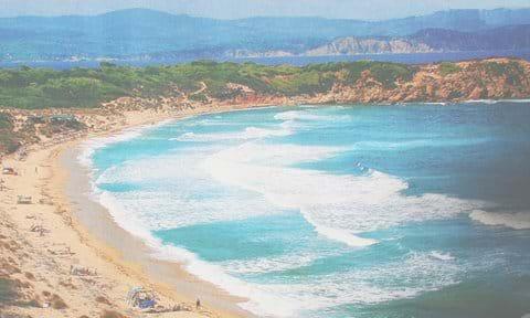 Skiathos - secluded Elias beach, mainland Pelion peninsula behind