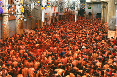 Crowds enjoying Tomatina