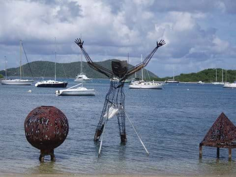 Trellis Bay - sculpture is lite at night