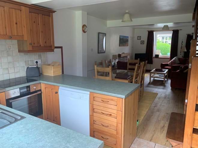 Modern appliances in open plan kitchen
