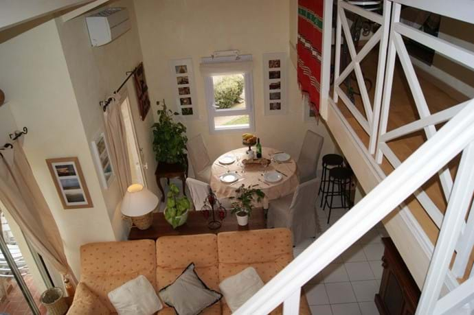 Lounge/dining area viewed from mezzanine