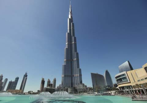 """burj khalifa close up with fountain"""