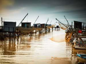 Fishing huts on Gironde Estuary