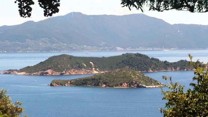 Skiathos bay from Katsaros ridge - Marengo, Arkos, and Skopelos islands