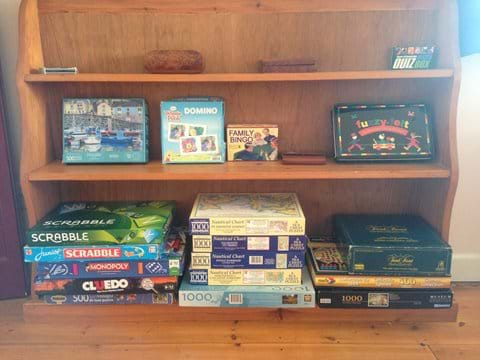 Lots of board games and puzzles