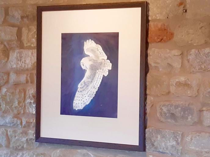 A barn owl is often seen hunting in the fields near the cottage, or in the dunes. This is the inspiration for the artwork in the cottage
