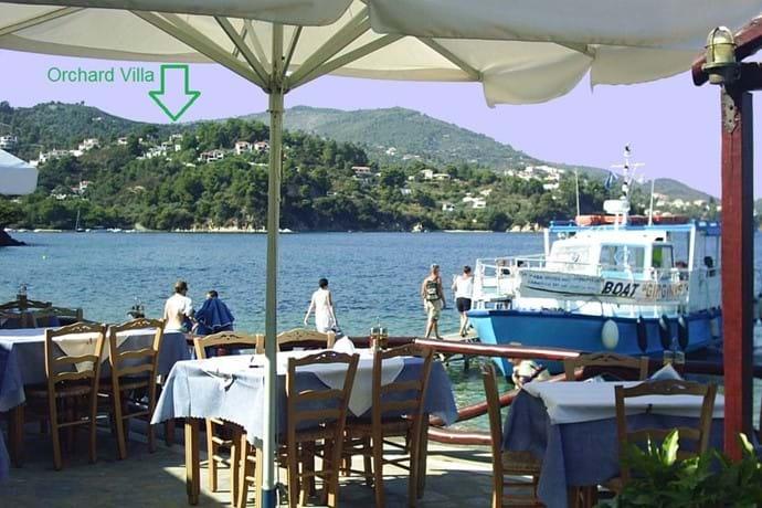 Orchard Villa from Kanapitsa; l. to r., Sklithri-Achladies-Vassilias beaches; Skiathos village