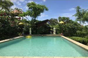 Pool, the pum house and the gazebo