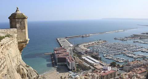 Alicante Harbour view from Santa Barbara Castle