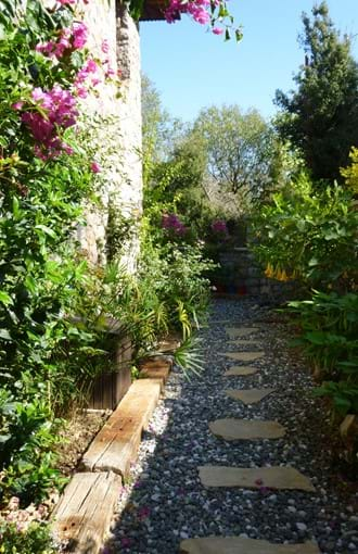 Side garden at the villa, with lemon, almond, walnut and bayleaf trees