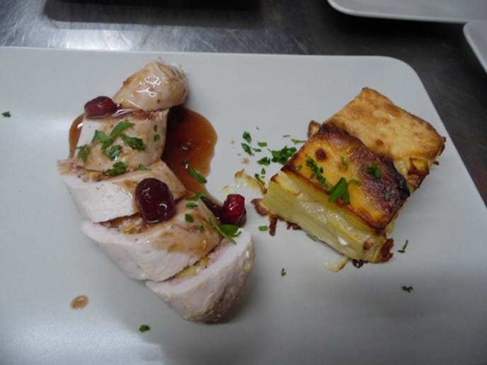 Chicken Stuffed with Goats Cheese and Peppers with Dauphinoise Potatoes.