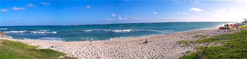Panoramic shot of Silver rock or De action Beach.