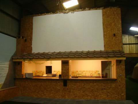 Big Screen Cinema with Kitchen below