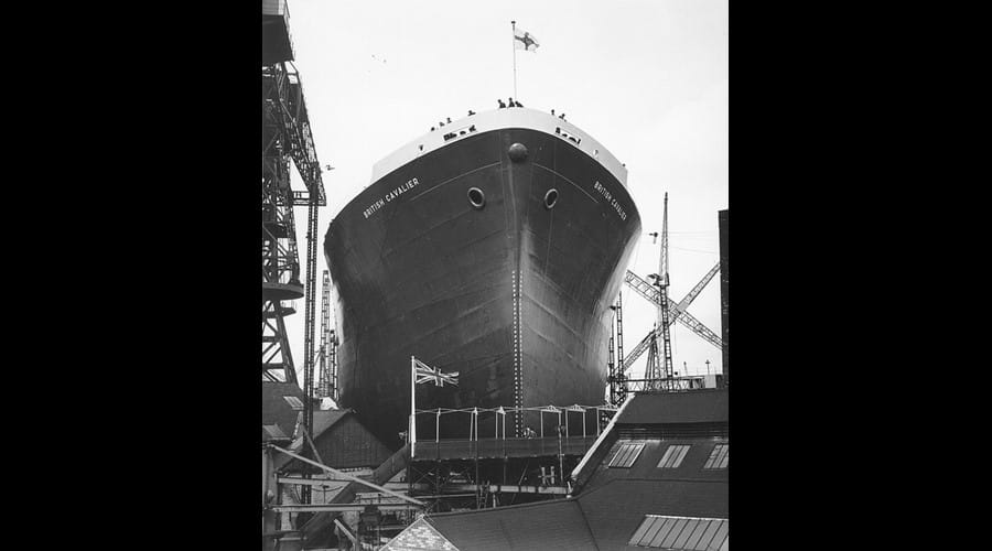 View of the tanker 'British Cavalier' ready for launch at the North Sands shipyard of J.L. Thompson & Sons, Sunderland, 19 June 1962 (TWAM ref. DS.JLT4/PH/1/700/2).