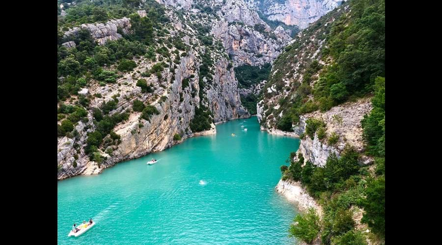 The blue waters of the Spectacular Gorges du Verdon and Lac St Croix