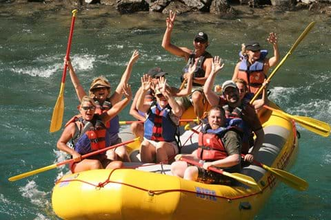 River raft on the Flathead River