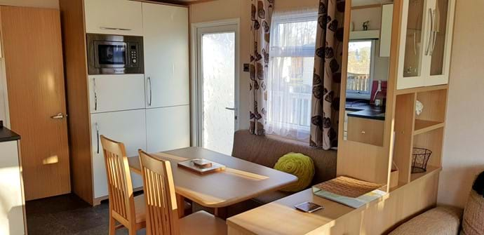 White Rose Caravan York| kitchen and dining area