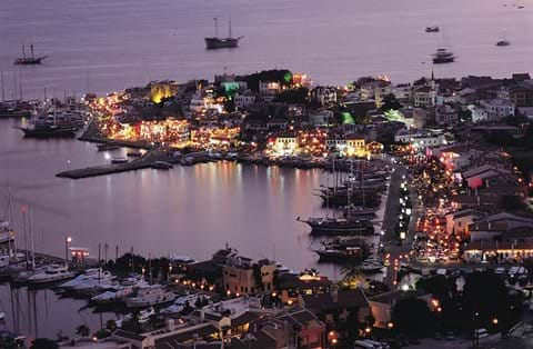Marmaris harbour by night - eat in one of the many restaurants or take a stroll along the promenade and soak up the atmosphere