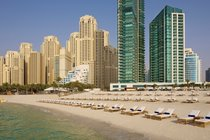 """""""Jumeirah Beach Al Bateen tower to the left Hilton Doubletree Hotel on the right"""""""