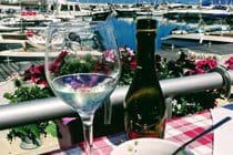 Wine and olives set overlooking the marina