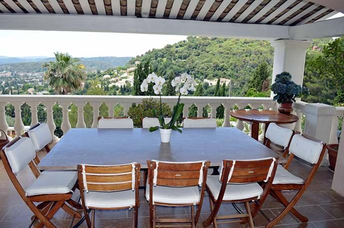 June 2015 - Our new dining table of Luberon stone seats 10 (or more) dining on our most popular mid level terrace, whilst enjoying the sunset, sea views and all the lights below.  Plus a separate serving table for pre-dinner drinks!