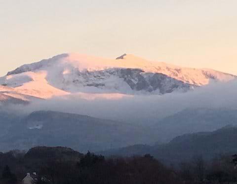 Winter sun catches Snowdon