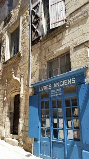 Lovely old book shop front, Perigueux