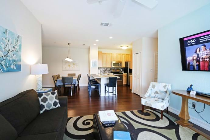 Open plan living and dining at our 4 bedroom condo 13-102