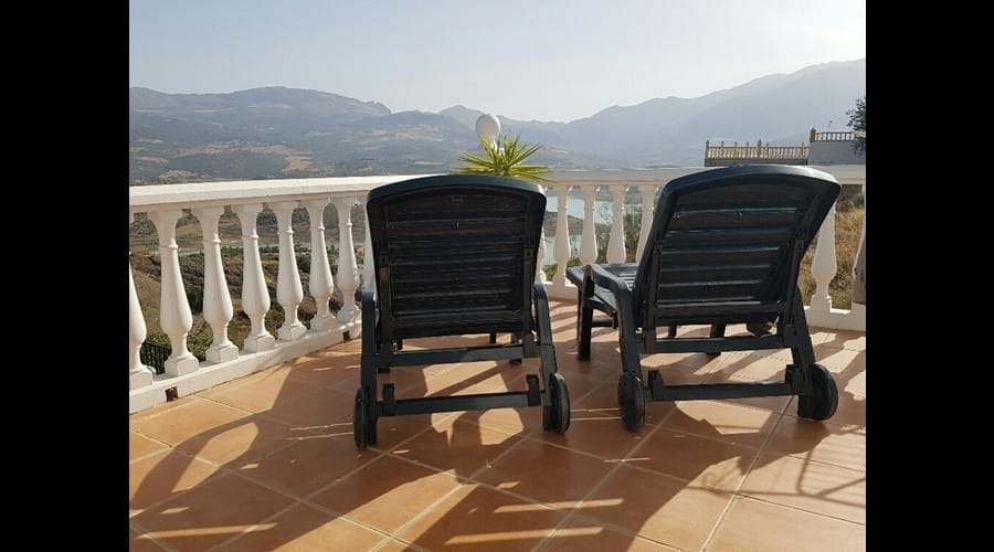 sunloungers on the middle terrace