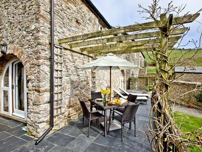 Alfresco dining area with views of the countryside