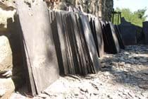slates lined up ready to go on the roof