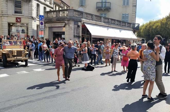 Dancing in the street at the Vintage days event in Perigueux