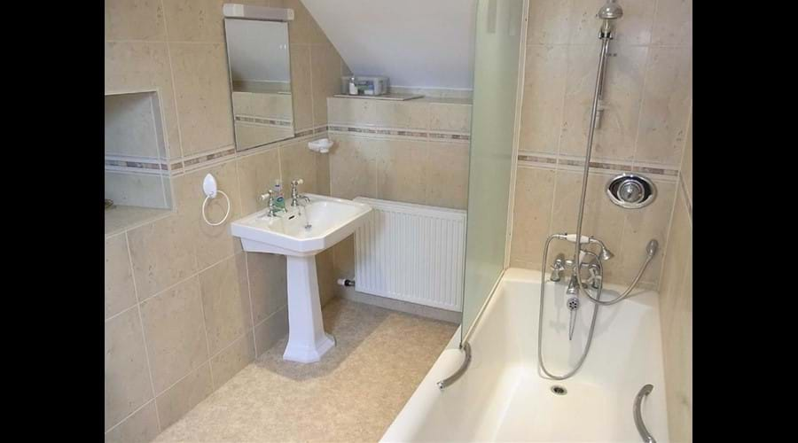 Upstairs bathroom with shower and second toilet