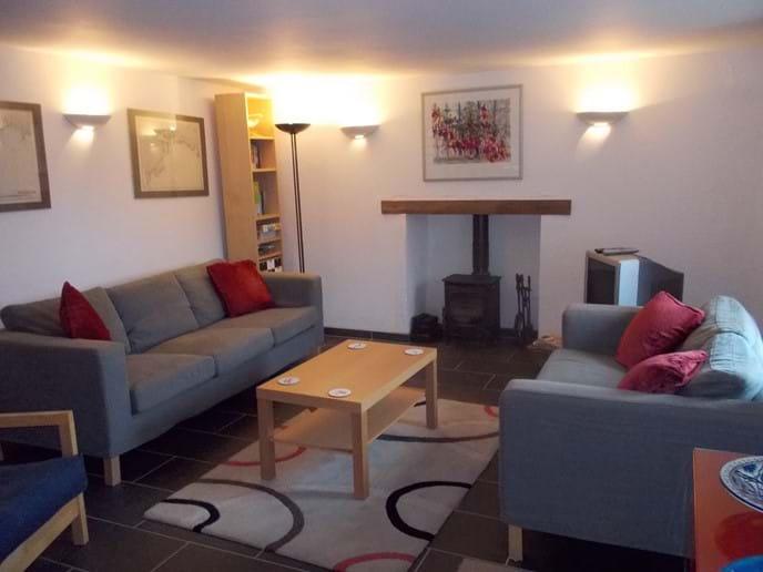Lounge area with peat/wood burner